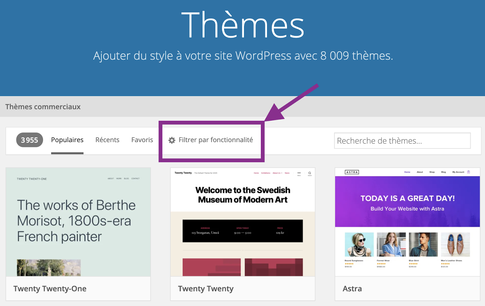 Capture d'écran de la page d'accueil des thèmes sur wordpress.org