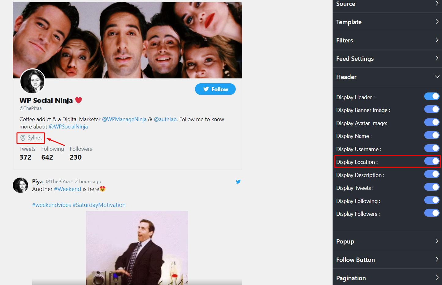 Twitter settings display location