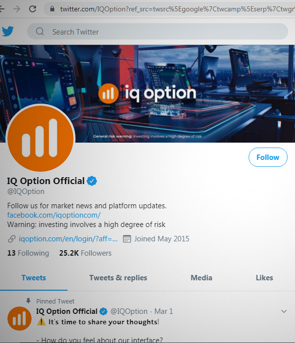 Twitter Page of IQ Option