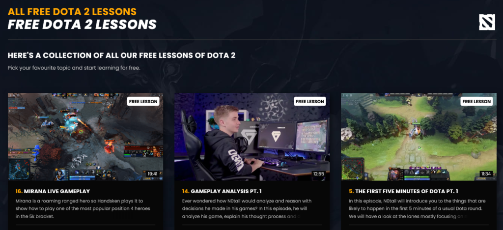 Screenshot of multiple Dota 2 Lessons for gamers presented on the creator tool, GamerzClass.