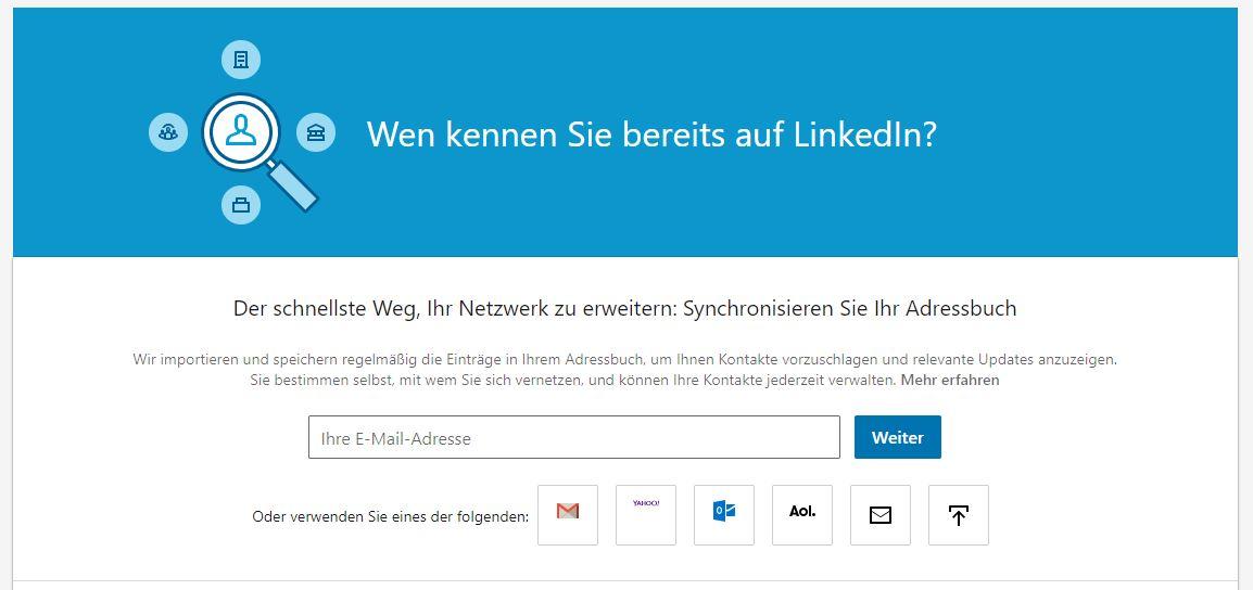 LinkedIn Kontaktanfragen via Adressbuch