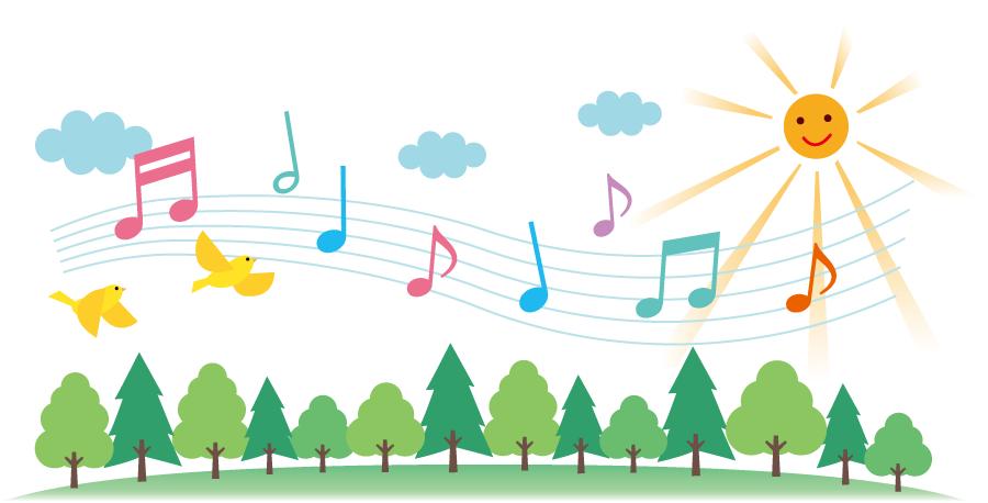 フリーイラスト 森の木々と歌う小鳥たちの背景でアハ体験 Gahag