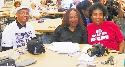 (L to r) Rev. Pinkney, wife Dorothy, staunch supporter and organizer Marcina Cole during support event at UAW Local 22 hall Sept. 8, 2014.