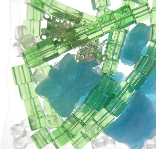 green butterfuly bead mix