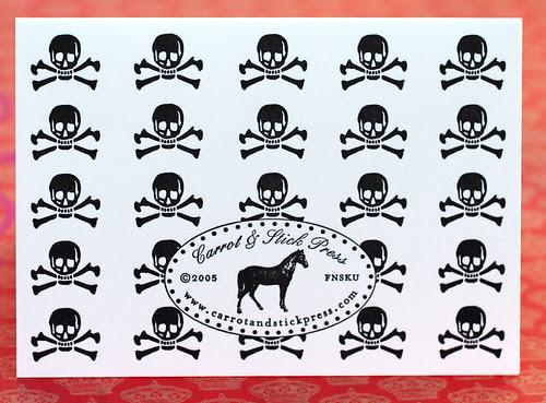 Letterpress skull cards: backside