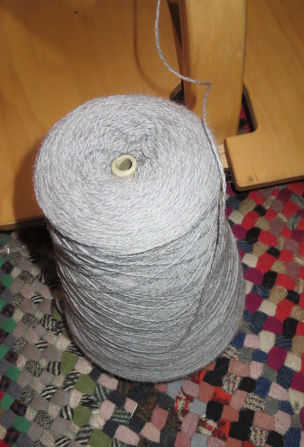 lace weight gray wool used as binder