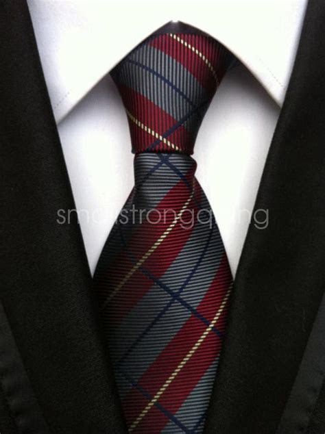 Mens Classic Stripe Silk Tie Necktie JACQUARD Neck Ties
