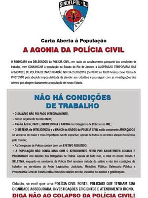 Comunicado emitido pelo Sindicato dos Delegados de Polícia (Sindelpol-RJ) foi feito para ser distribuído nas delegacias (Foto: Divulgação / Polícia Civil)