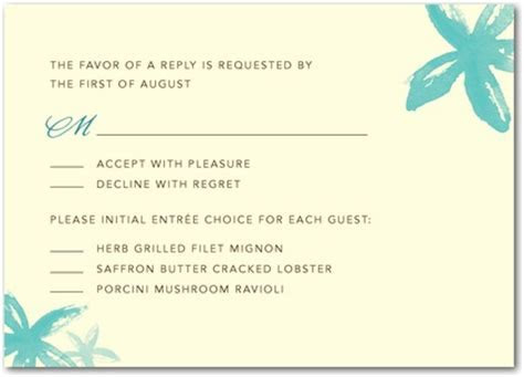 Wedding Invitations   Don't Forget the Entree Selection