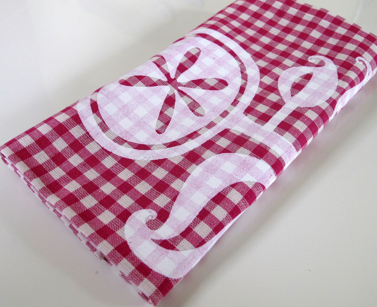 Cotton Kitchen Tea Towel - Magenta Gingham White Happy Flower
