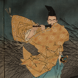 The Heian Poet Yasumasa Playing the Flute by Moonlight, Subduing the Bandit Yasusuke with His Music (detail), 1883, by Tsukioka Yoshitoshi