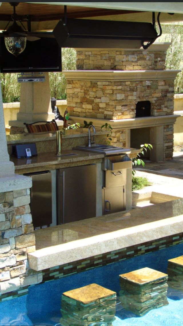 Outdoor BBQ pool area when I win the lottery!