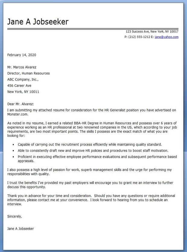 Hr Generalist Cover Letter Examples Creative Resume