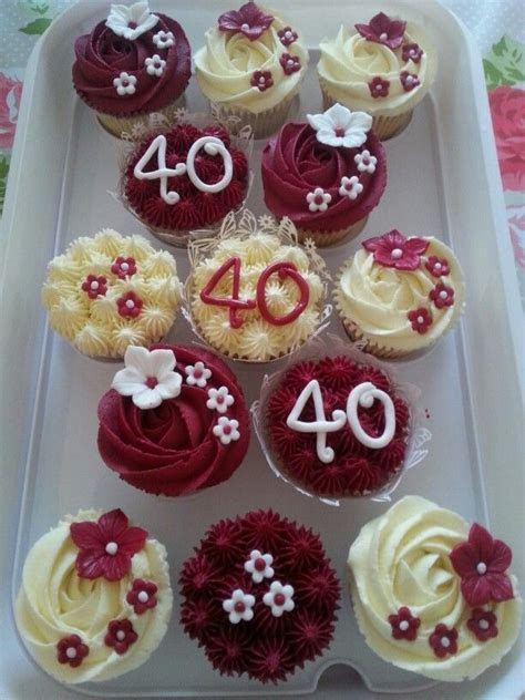 Ruby wedding anniversary cupcakes   Ruby in 2019   40th
