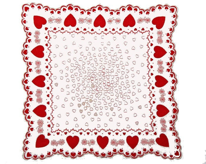 VINTAGE VALENTINE HANKIE, Valentines All Over, Valentine Border, Gorgeous Faceted Red Edges, Simple and Elegant, Excellent Condition - CUSHgoods