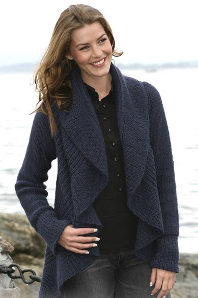 Free knitting pattern for Blue Moon Cardigan and more draped front cardigan knitting patterns