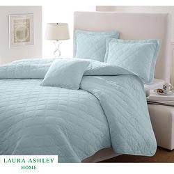 Laura Ashley Full/Queen-size Light Blue 3-piece Quilt Set ...
