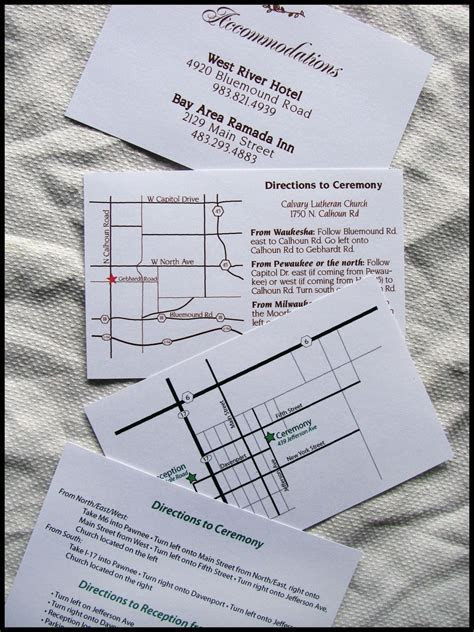 Custom Map, Directions, and Accommodations Card for