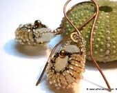 SeaGlass in a Bag Earrings -  beaded earrings with natural sea glass  from Amalfi Coast (double face)