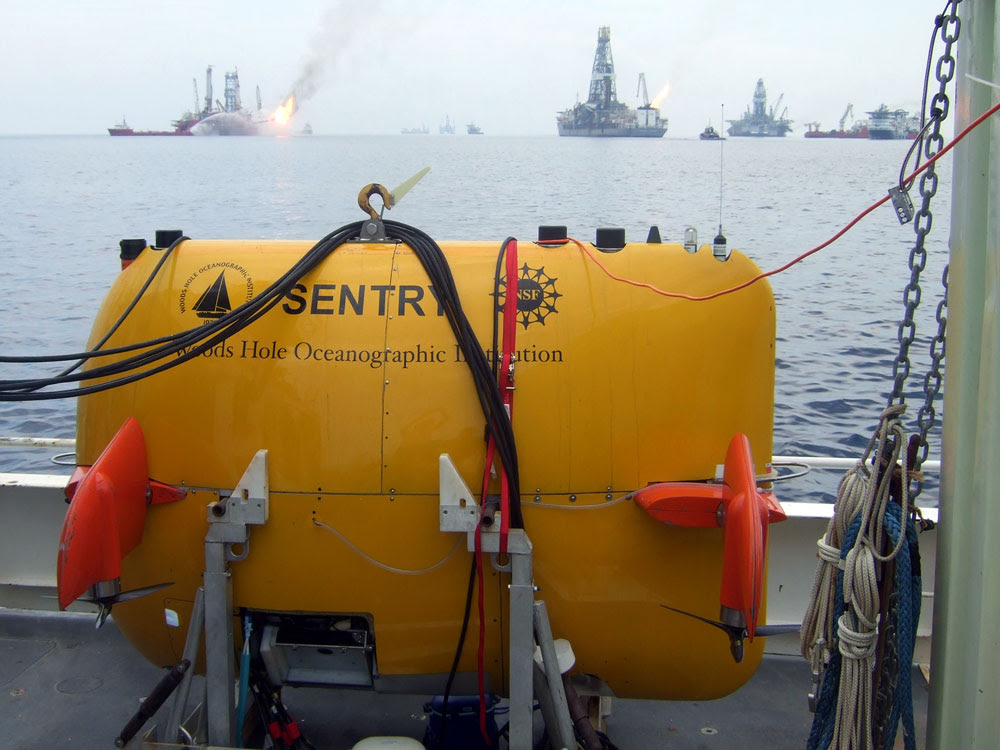 The Sentry automated underwater vehicle aboard the research vessel Endeavor.