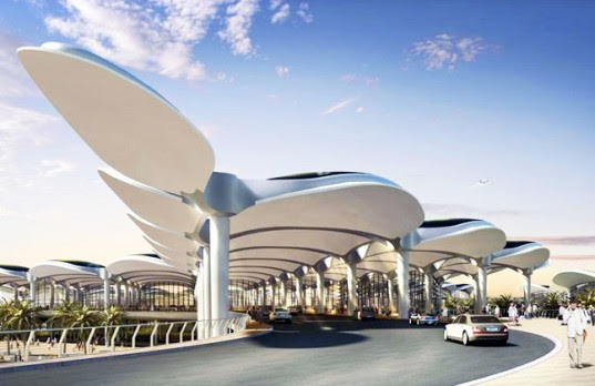 Foster + Partners, queen alia international airport, airport, energy efficient airport, solar energy, photovoltaic panels, inspired by nature, rainwater collection, natural ventilation, daylighting, eco design, sustainable building, green design