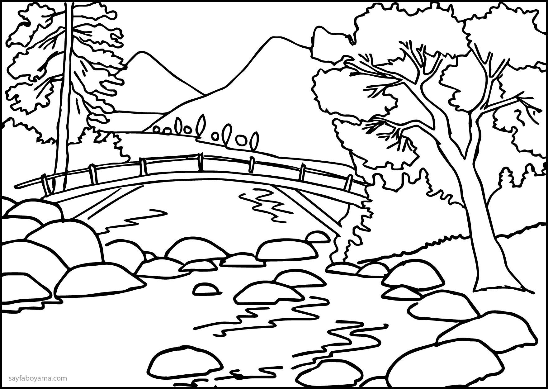 Güzel Nehirli Boş Doğa Manzarası Boyama Sayfası