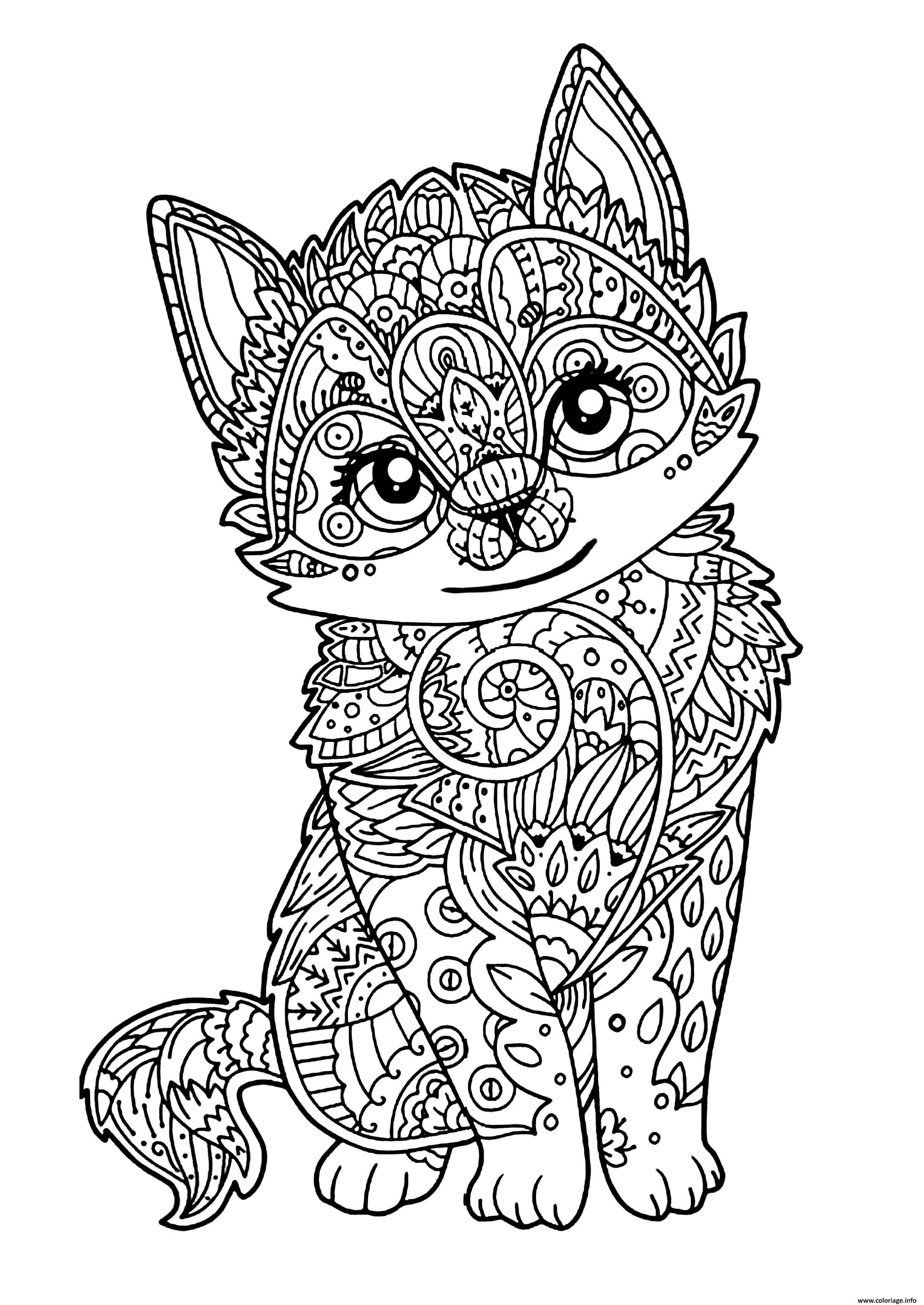 Dessin chat mignon chaton adulte Coloriage Gratuit  Imprimer