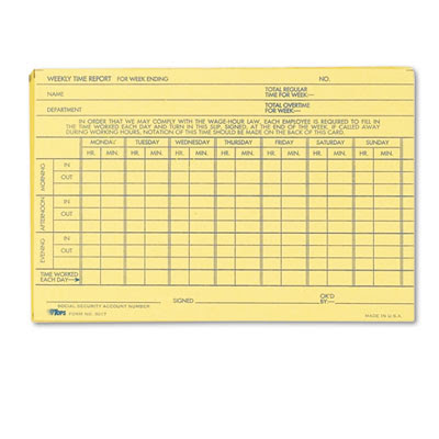 Tops Employee Time Report Card, Weekly, 6 x 4, 100/Pack - TOP3017 ...