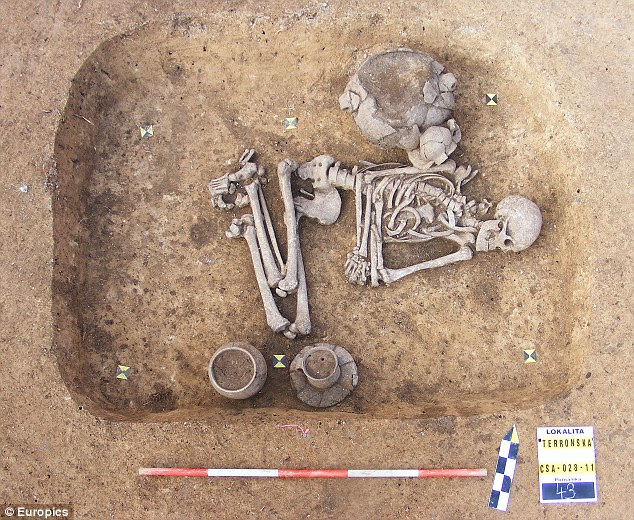 Y-M-C-Cave: The skeleton was found in a Prague suburb with its head pointing eastwards and surrounded by domestic jugs - rituals only previously seen in female graves