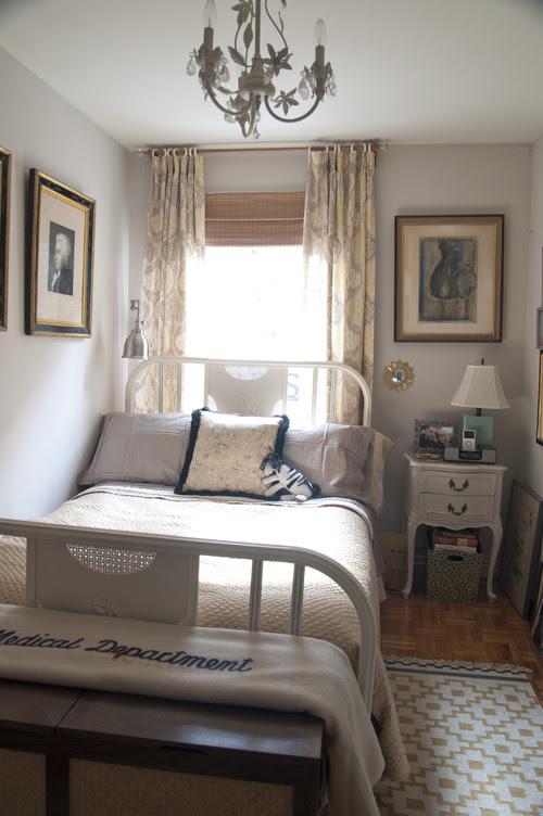 bed with custom hamper/bench eclectic bedroom