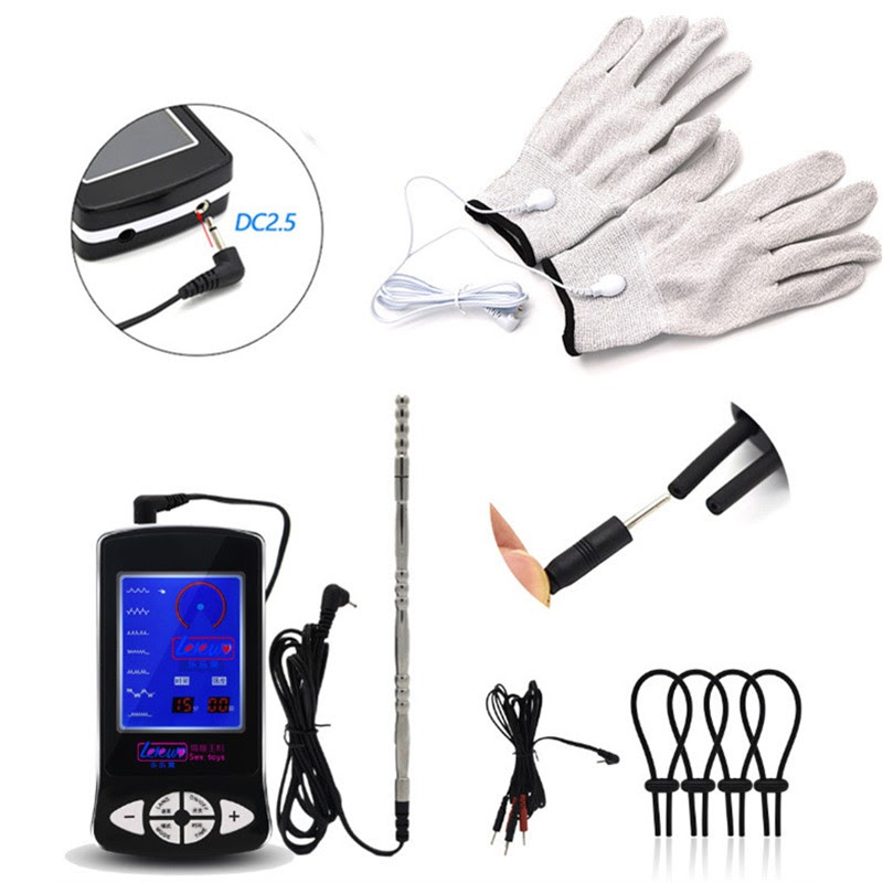 Discount  3in1 Medical Themed Toys with Gloves Penis Rings Stainless Steel Urethral Plug Electric Shocker Sex