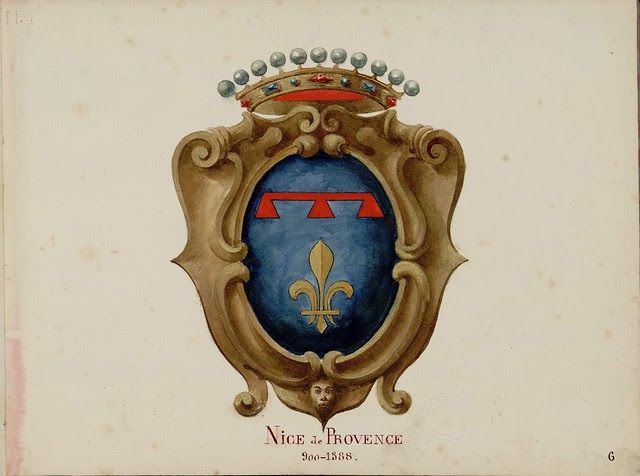 watercolour drawing of coat of arms in frame