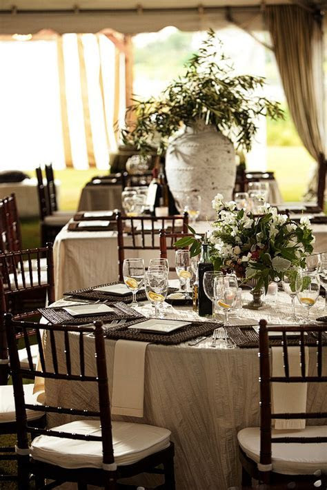 Elegant Brown White Green Tented Wedding Reception