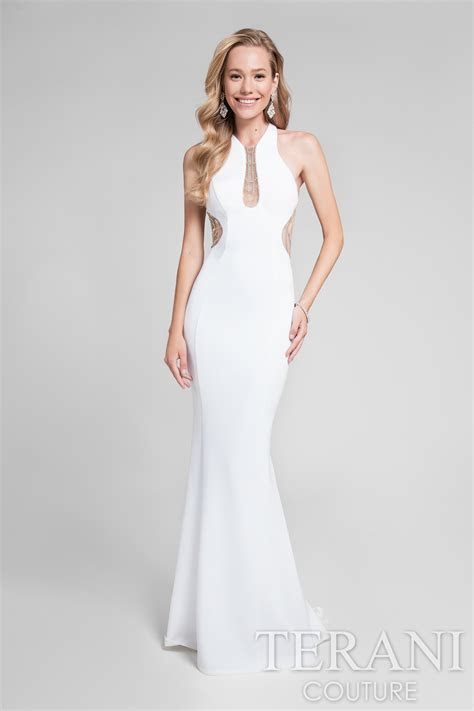 TERANI 1712P2486   TERANI WHITE EVENING DRESS