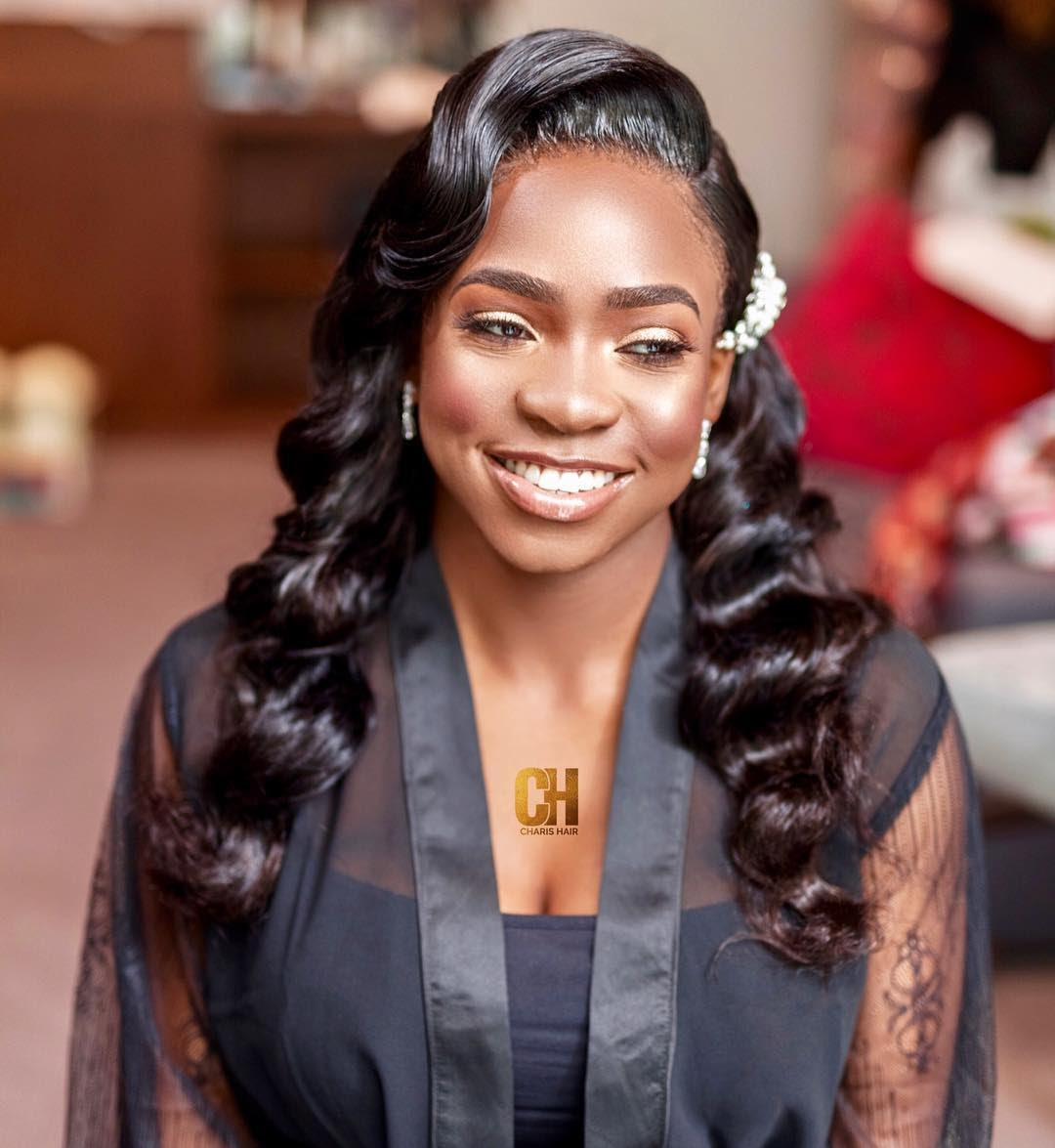 hairstyles for beautiful wedding: black bridesmaids