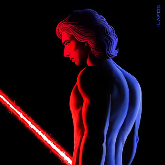 kyloren, kylo, the force awakens, adam driver, star wars, chiaroscuro, lighting, body, male, light saber