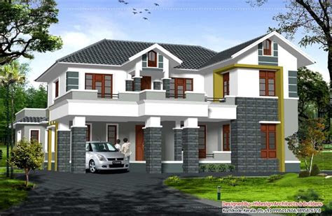 beautiful sloping roof kerala house   sqft