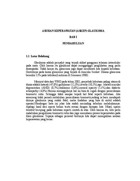 (DOC) ASUHAN KEPERAWATAN GLUKOMA | laskar fabanyo