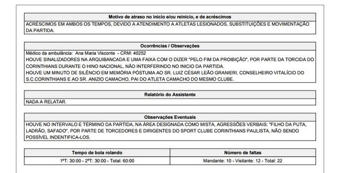 Súmula de Corinthians x Palmeiras cita expulsão de Gabriel (Foto: Reprodução)
