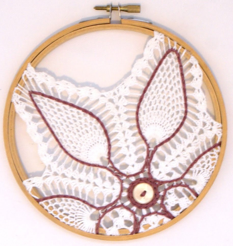 New Low Price, Embroidery Hoop Wall Art with White Crocheted Doily and Mauve Embroidery Thread