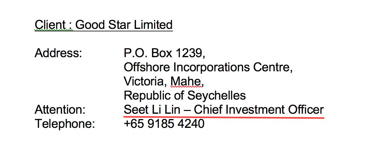 Ketua Pegawai Pelaburan dan penandatangan untuk Good Star