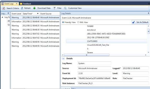 Diagnostics info in Azure Management Studio