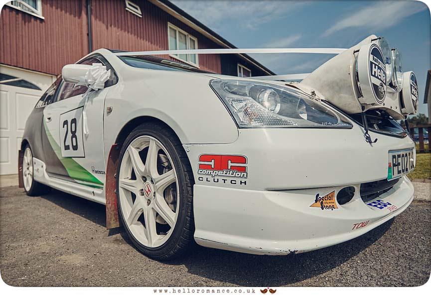 Unusual wedding car, rally car, Paul Dumbill rally car Honda Civic - www.helloromance.co.uk