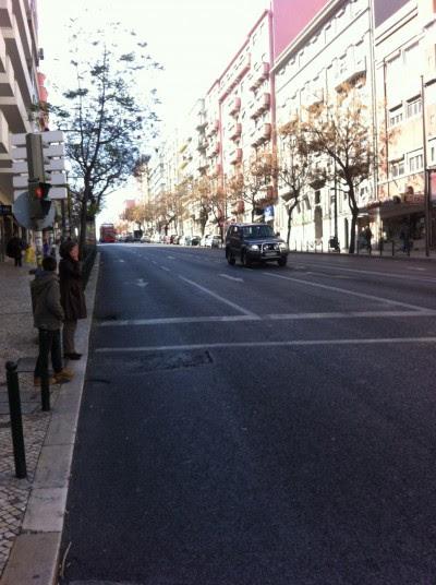 trânsito no centro de Lisboa esta manhã, dia de carnaval