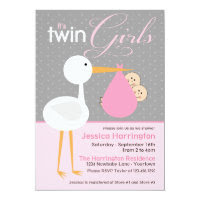 Stork Pink Twin Bundle Baby Shower Invitations