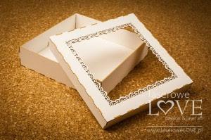 Pudełko Koronka Indiana na kartkę/album, 16x16 cm, z beermaty