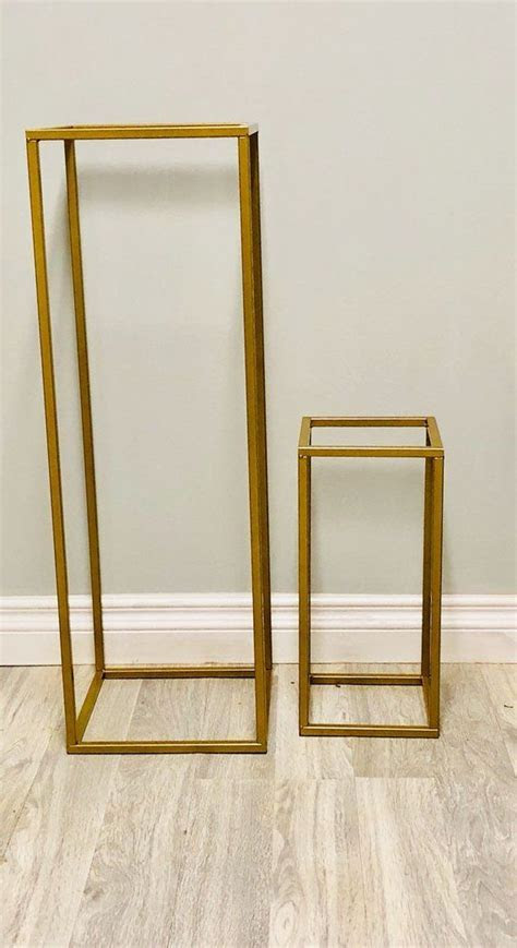 Modern Rectangle Stand Metal Gold Geometric Vase/Metal
