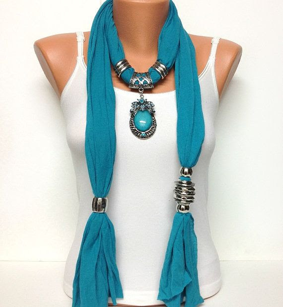 teal color jewelry scarf - like the diverse look of elements on either side