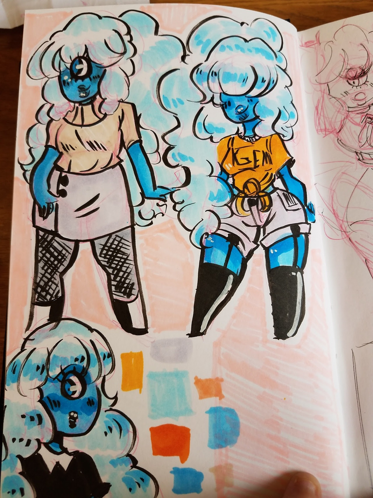 Fashion Sapphires for my sketchbook. Yeah. Ruby-cube loves her Saphy in cute clothes.