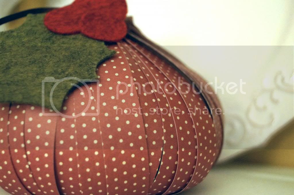 Homemade Paper Holly Ball Ornament